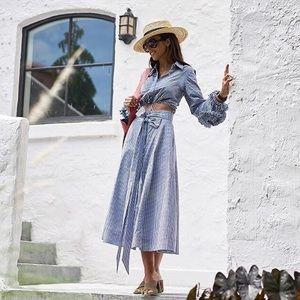 Alexis Hadley blue White gingham check midi skirt